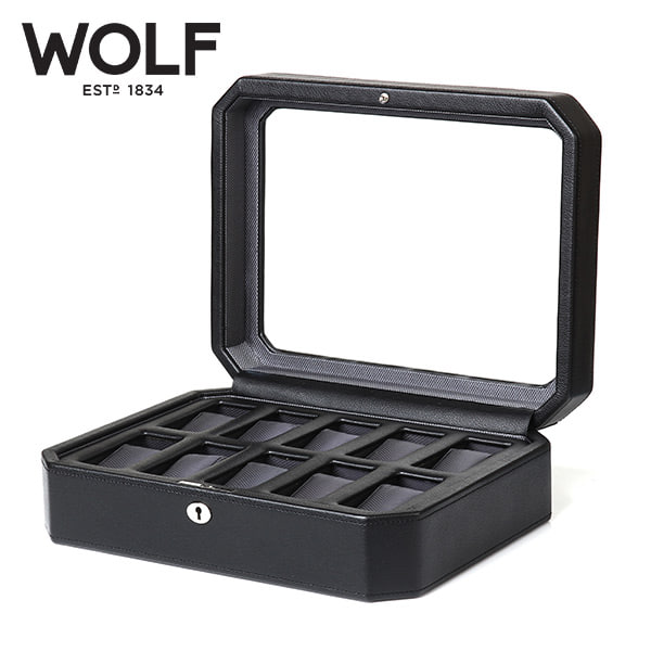 [울프 WOLF] 4584029 (Windsor 10pc Watch Box Blk) / 시계보관함 Watch Cubbyhole