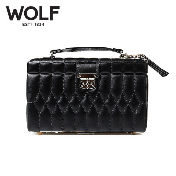 [울프 WOLF] 329771 (Caroline Medium Box Black) / 보석함 Jewel Box