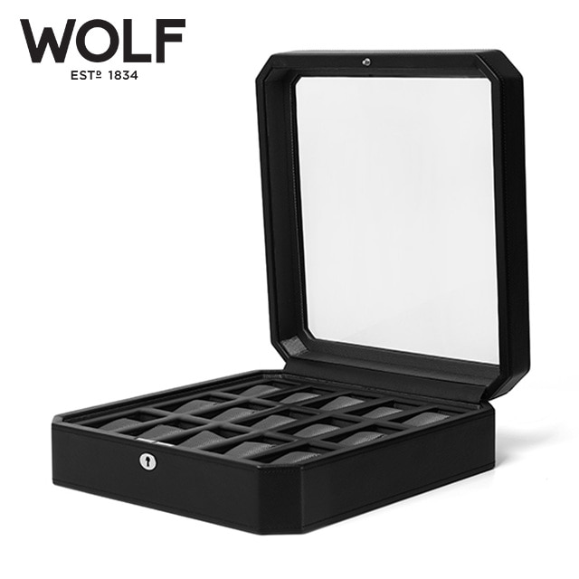[울프 WOLF] 4585029 (Windsor 15pc Watch Box Blk) / 시계보관함 Watch Cubbyhole